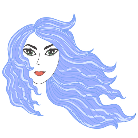 Girl with windblown blue hair Illusztráció