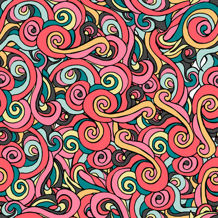 Saemless pattern with colorful curls. eps 8. Illusztráció