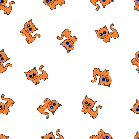 Seamless pattern with cartoon tiger cubs