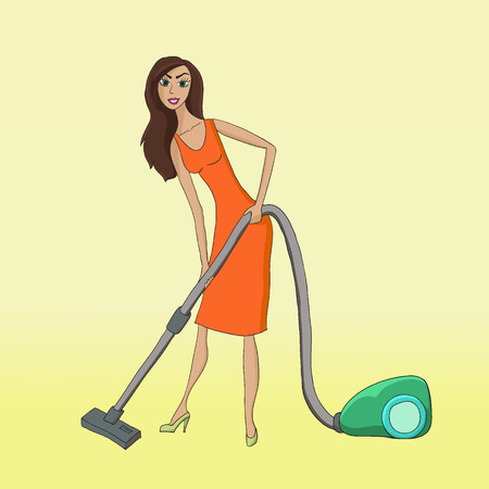 Woman with a vacuum cleaner Illustration