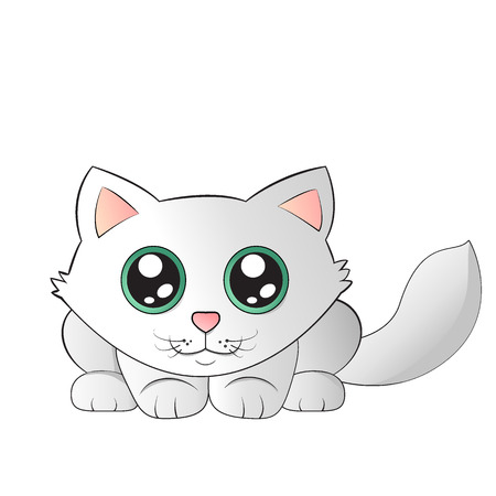 Cute kitty with big green eyes. Vector illustration.