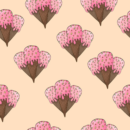 Ice cream hand drawn seamless pattern.  Illustration