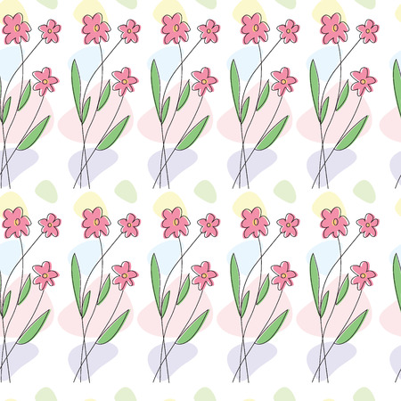 Seamless pattern with simple flowers.