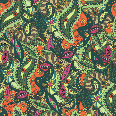 Unique seamless pattern with eyes and strange plants.   Illusztráció