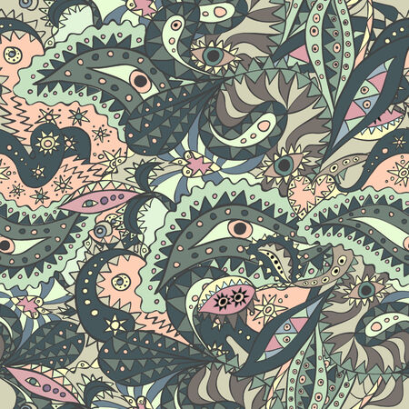 Unique seamless pattern with eyes and strange plants.   Illustration