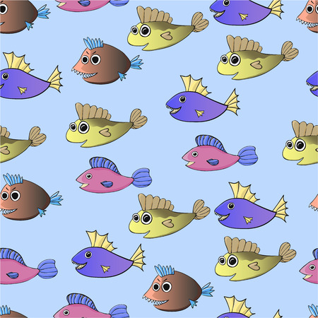 Cartoon fish on the blue background. Seamless pattern.