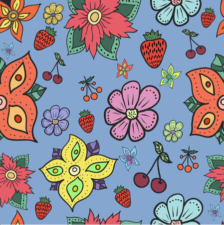 Seamless pattern with flowers. Easy editable.