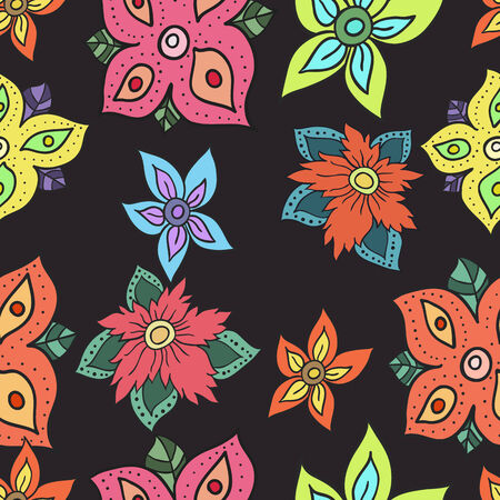 Seamless pattern with flowers.  Easy editable.   Illustration