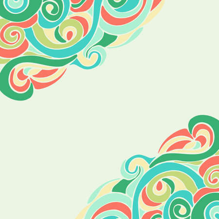 Hand drawn vector frame with colorful  curls
