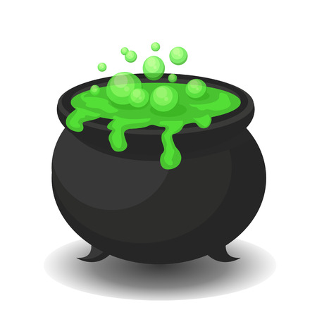Cauldron with green potion.  Illustration