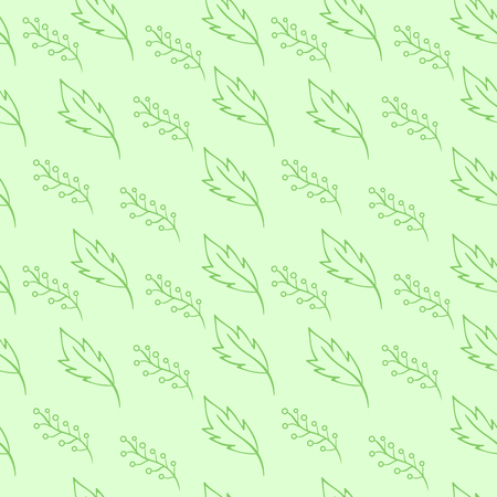 Leaves and berries seamless pattern