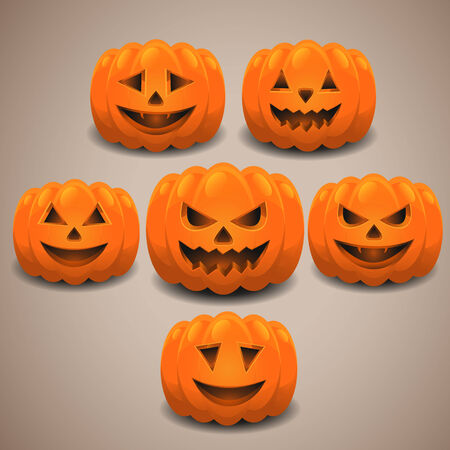 pumpkin patch: Halloween pumpkins set.    Illustration