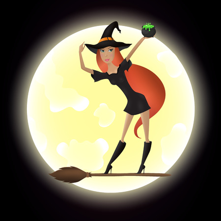 Red hair witch standing on the broomstick and   Illustration