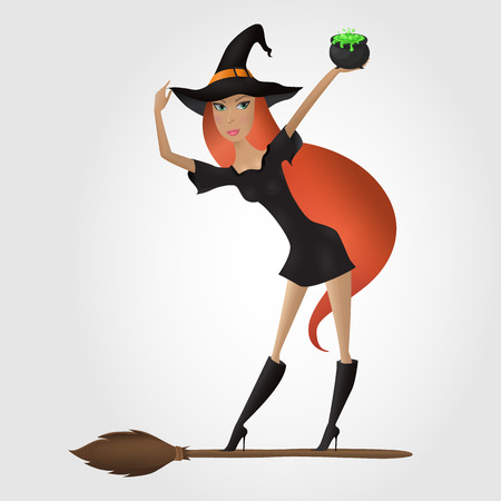 Red hair witch standing on the broomstick and holding cauldron with green potion. Hand drawn.   Vector