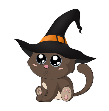 Cute kitten in a witch hat. Eps 10.