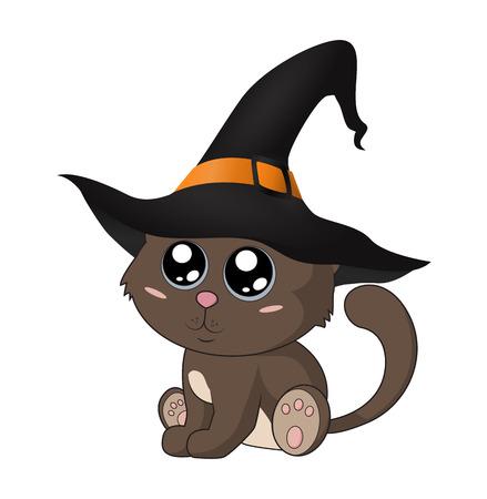 Cute kitten in a witch hat. Eps 10.