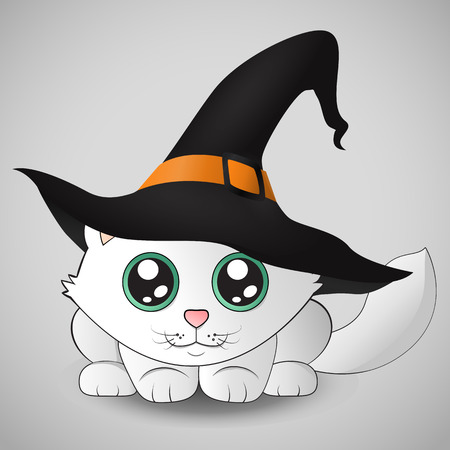 Cute kitten in a witch hat sitting on the pumpkin. Eps 10. Vector