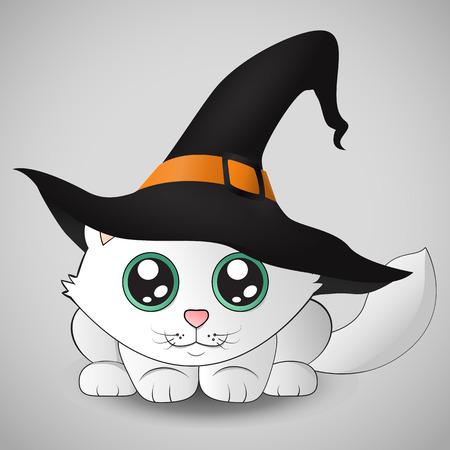 Cute kitten in a witch hat sitting on the pumpkin. Eps 10.