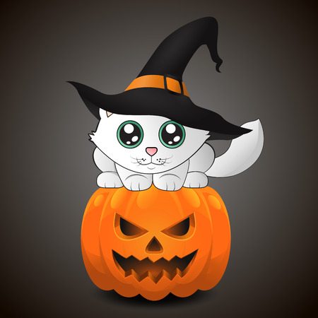 Adorable kitty in witch hat sitting on the pumpkin