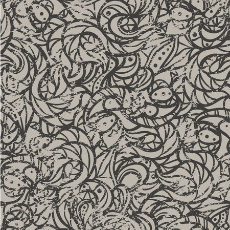 Grey seamless vintage pattern.