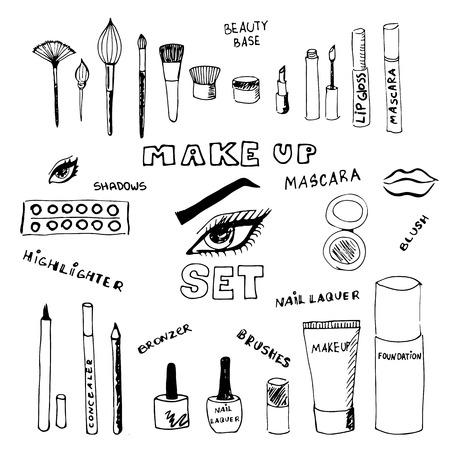 Doodle make up set. Eps 8.  イラスト・ベクター素材