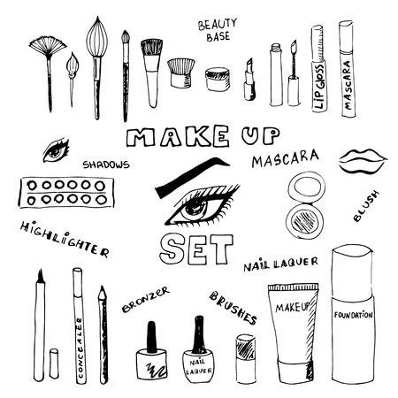 foundation: Doodle make up set. Eps 8. Illustration