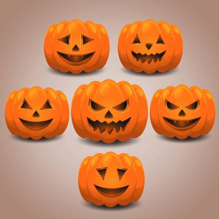 Halloween pumpkins set. Eps 10. Vector
