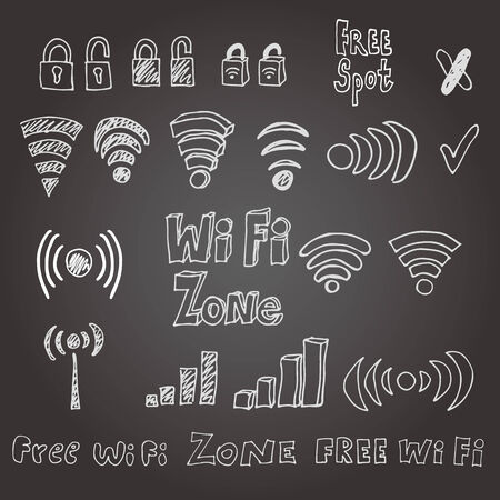 Hand drawn wi-fi vector set. Eps 8.