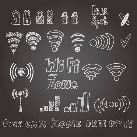 Hand drawn wi-fi vector set. Eps 8.