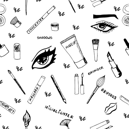Makeup seamless pattern. Eps 8.
