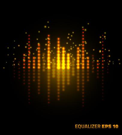 Music equalizer. Vector illustration on black background. Illustration