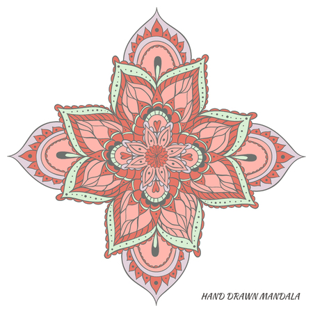 Mandala vector. Hand drawn vector multicolored illustration.