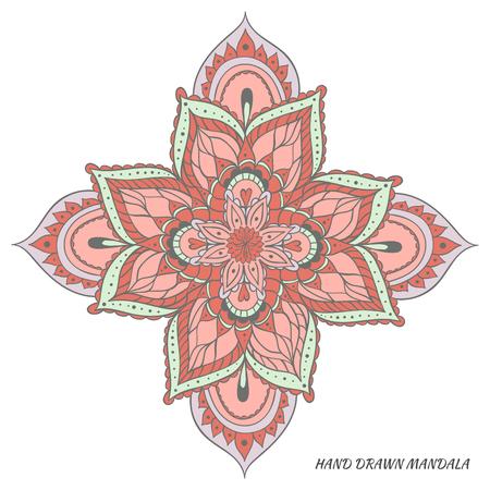 Mandala vector. Hand drawn vector multicolored illustration.
