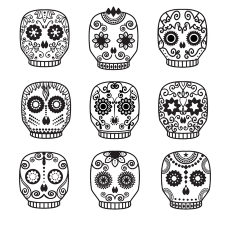 Sugar skull vector set. Day of the dead skull design.