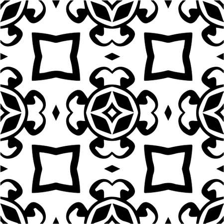 Geometric vector pattern with triangular elements. Seamless abstract ornament for wallpapers and backgrounds. Black and white colors. Ilustración de vector
