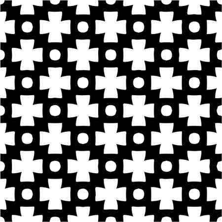 Geometric vector pattern with triangular elements. Seamless abstract ornament for wallpapers and backgrounds. Black and white colors. Vettoriali