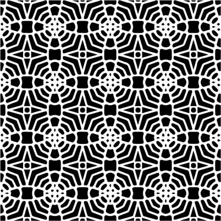 Geometric vector pattern with Black and white colors. Seamless abstract ornament for wallpapers and backgrounds. 向量圖像
