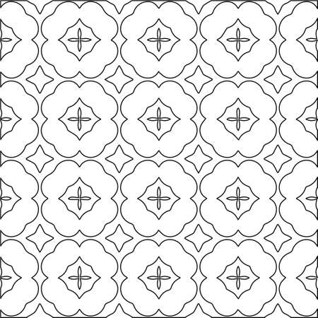 Geometric vector pattern with Black and white colors. abstract ornament for wallpapers and backgrounds. Vettoriali