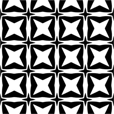 Geometric vector pattern with Black and white colors. Seamless abstract ornament for wallpapers and backgrounds. Vetores