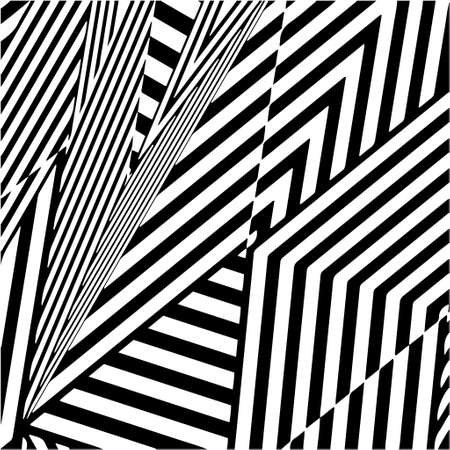 striped background. Geometric vector pattern with triangular elements. abstract ornament for wallpapers and backgrounds. Black and white colors. Vettoriali