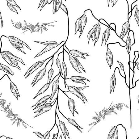 Seamless hand drawn pattern with oatmeal plant, oat seeds, oats Vektoros illusztráció