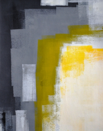 gallery interior: Grey and Yellow Abstract Art Painting Stock Photo