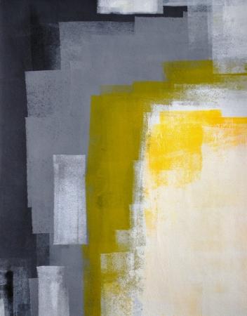 pinturas abstractas: Pintura del arte abstracto gris y amarillo