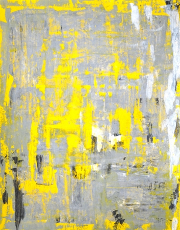 Grey and Yellow Abstract Art Painting Archivio Fotografico