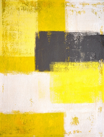 on gray: Grey and Yellow Abstract Art Painting Stock Photo