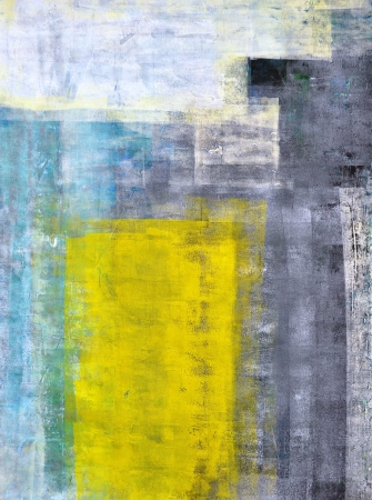 Grey, Teal and Yellow Abstract Art Painting photo