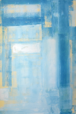 Teal and Yellow Abstract Art Painting photo