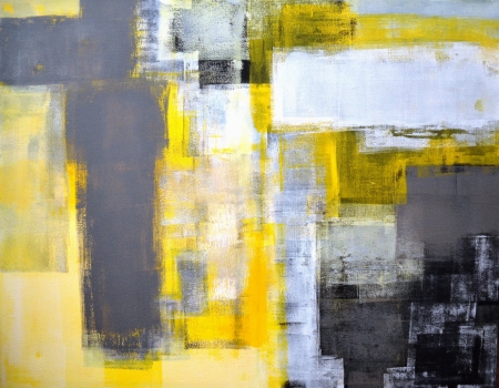 contemporary: Grey and Yellow Abstract Art Painting Stock Photo