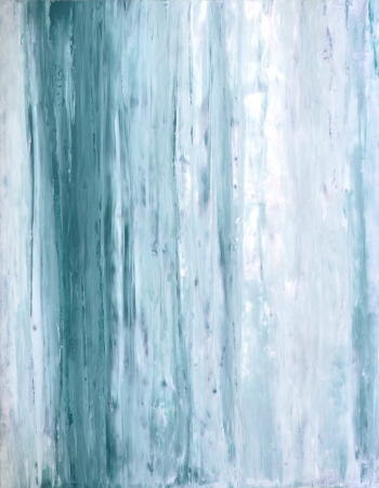 Teal and White Abstract Art Painting