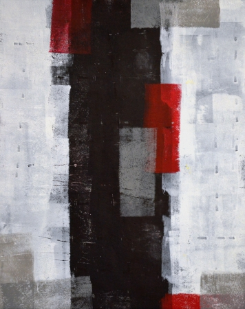 contemporary: Grey and Red Abstract Art Painting Stock Photo